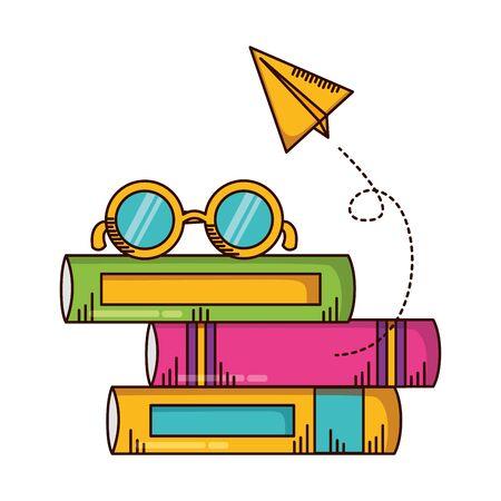 books paper plane eyeglasses school supplies vector illustration design
