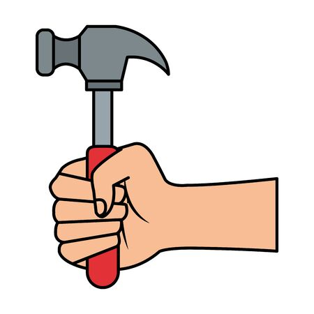 hand with hammer tool vector illustration design Stock fotó - 129482923