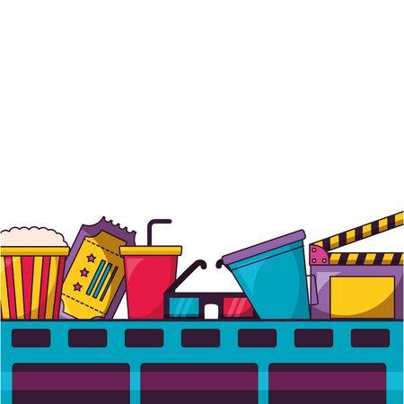 film strip soda ticket 3d glasses clapboard cinema movie vector illustration