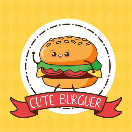 burger fast food cartoon vector illustration