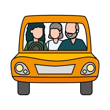 family mom and grandparents in the car vector illustration design  イラスト・ベクター素材