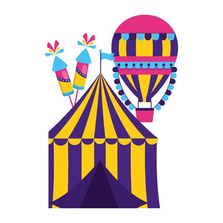 carnival tent air balloon fireworks vector illustration design