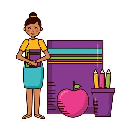 woman book apple pencils teachers day card vector illustration 矢量图像