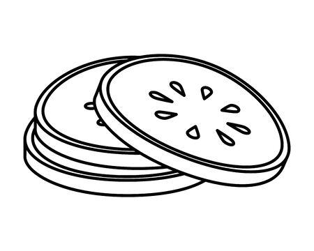 fresh cucumber slices vegetable icon vector illustration design