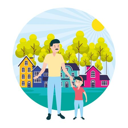 family father with daughter outdoors vector illustration Banque d'images - 129474058