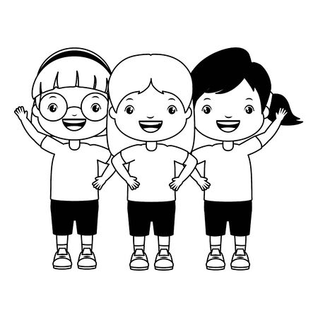 three girl embraced characters happy vector illustration