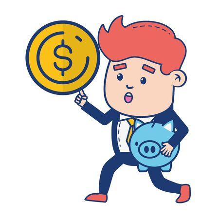 businessman piggy bank saving money coin vector illustration