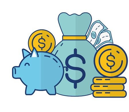 piggy bank money currency online payment vector illustration  イラスト・ベクター素材