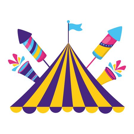 carnival tent flag rocket fireworks vector illustration design Ilustrace