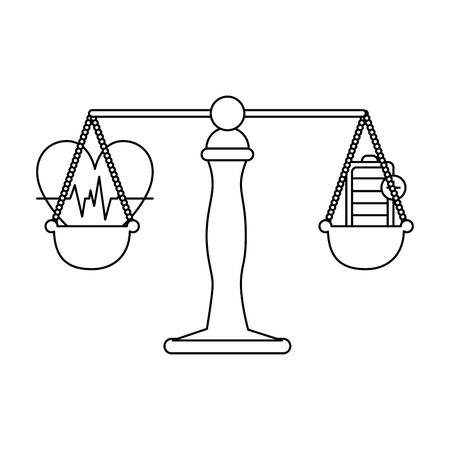 justice balance with heart cardio and energy battery vector illustration Stock Illustratie