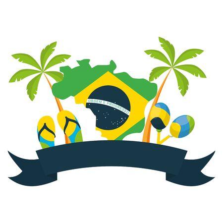 map flag maracas sandals palms brazil carnival festival vector illustration