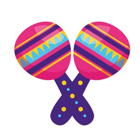 colored maracas music on white background vector illustration