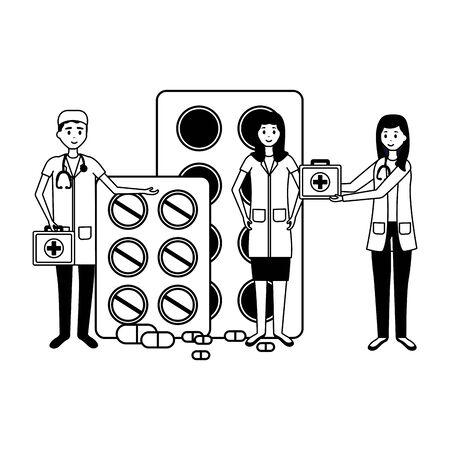 medical people staff medicine pills kit first aid vector illustration vector illustration  イラスト・ベクター素材