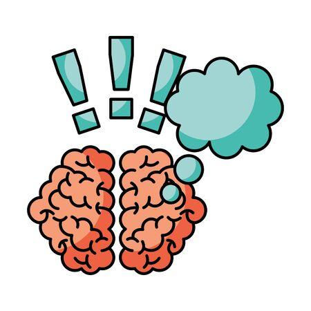 brain exclamation marks creativity idea vector illustration