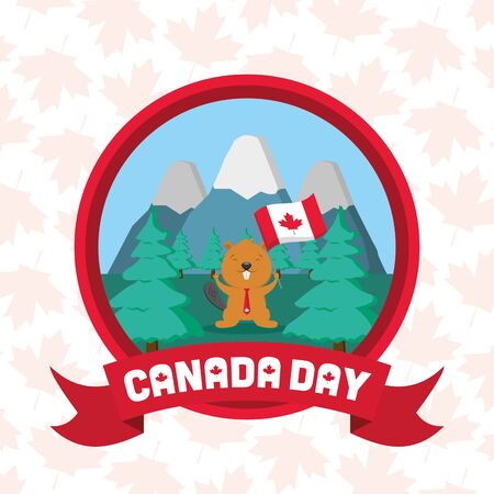 beaver flag mountains forest badge happy canada day vector illustration