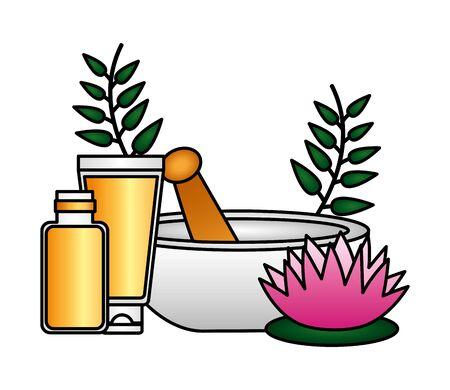 bowl organic product spa treatment therapy vector illustration Illusztráció