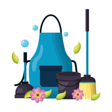 apron bucket plunger broom flowers spring cleaning tools vector illustration