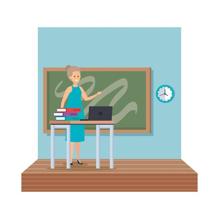 teacher female in desk with laptop and books classroom scene vector illustration Illustration