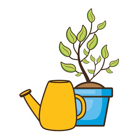 watering can potted plant gardening vector illustration  イラスト・ベクター素材