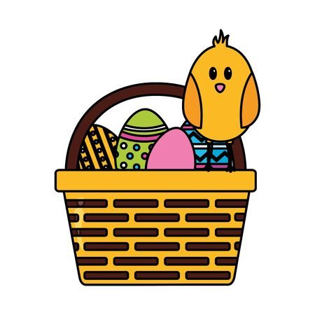 happy easter chick eggs on basket vector illustration