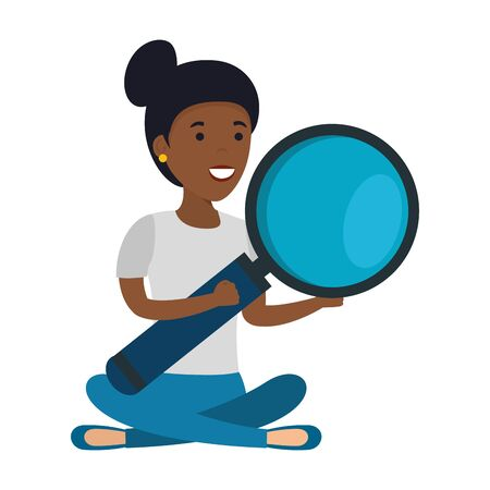 young black woman in lotus position with magnifying glass vector illustration design