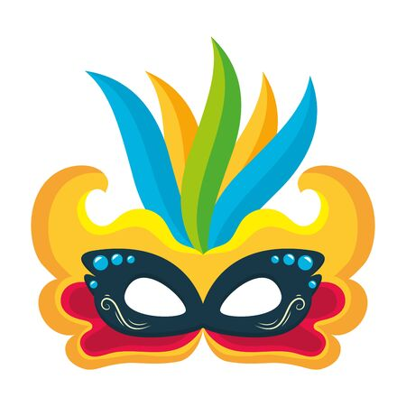 mask feathers brazil carnival celebration vector illustration