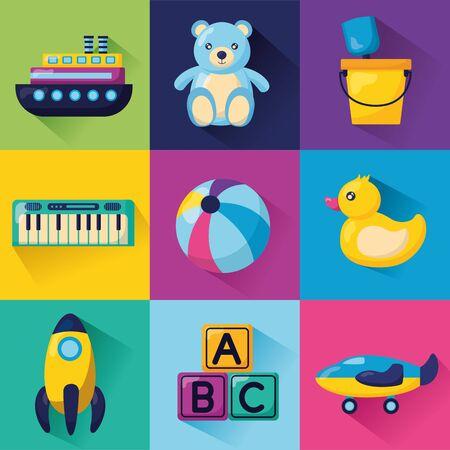 kids toys set ball bear duck rocket bucket piano plane vector illustration