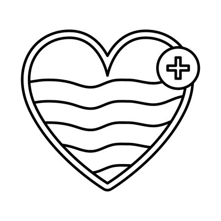 heart cardio with pluss symbol vector illustration design