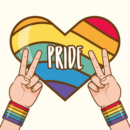 hands with rainbow colors peace and love lgbt pride love vector illustration