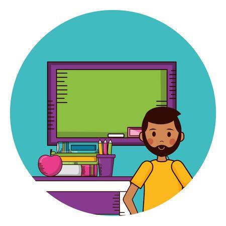 man board desk  supplies teachers day card vector illustration