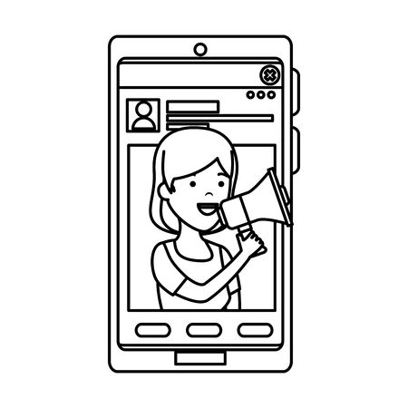 young woman in smartphone and megaphone vector illustration design