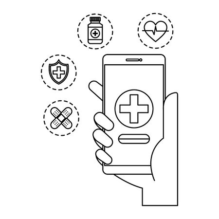 hand using smartphone with telemedicine icons vector illustration design Ilustração