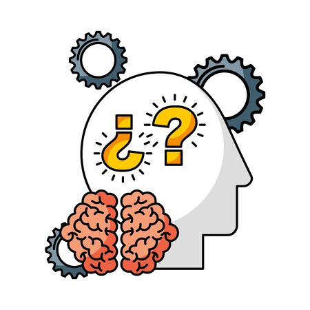 head gears question marks brain creativity idea vector illustration