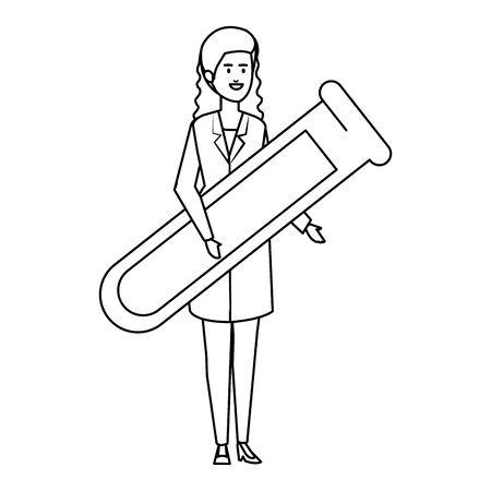 professional female doctor with tube test vector illustration design Illustration