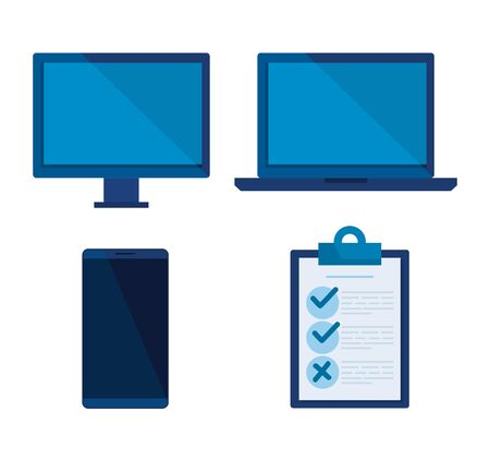 set computer with laptop and smartphone technology vector illustration