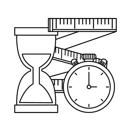 tape measure with chronometer and hourglass vector illustration design Stock Illustratie