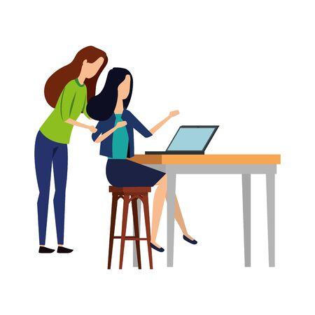 elegant businesswomen working with laptop vector illustration design Stock Illustratie