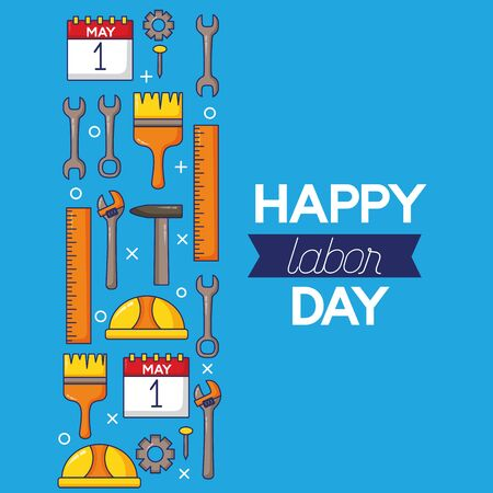 calendar tools labour day vector illustration design