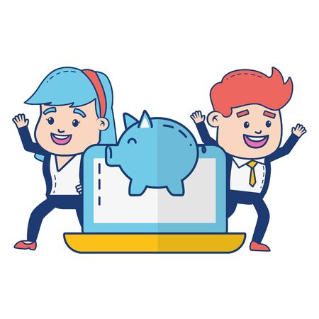 people laptop piggy bank online payment vector illustration Standard-Bild - 129575813