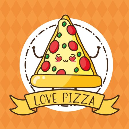pizza fast food cartoon vector illustration