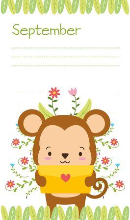 cute monkey animal calendar cartoon vector illustration
