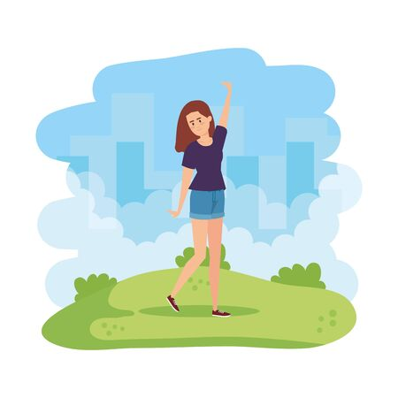 beautiful and young woman celebrating in the field vector illustration design