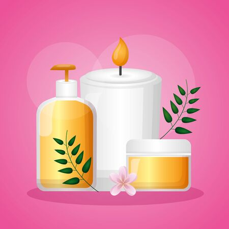 skin care bottle lotion candle spa treatment therapy vector illustration Иллюстрация