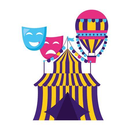 carnival tent air balloon theater masks vector illustration design