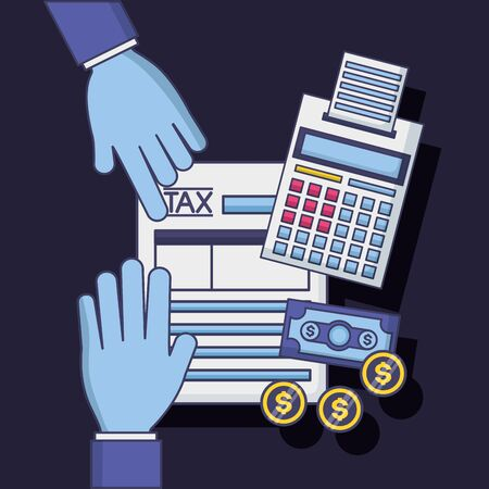 hands form calculator money tax payment vector illustration