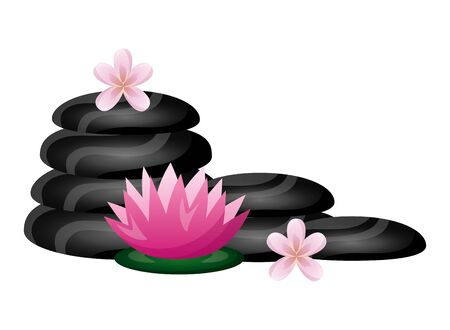hot stones flowers spa therapy treatment vector illustration