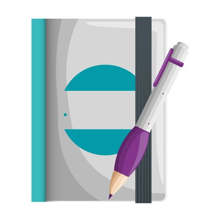 text book and pen writing with company emblem vector illustration design Stok Fotoğraf - 129483459
