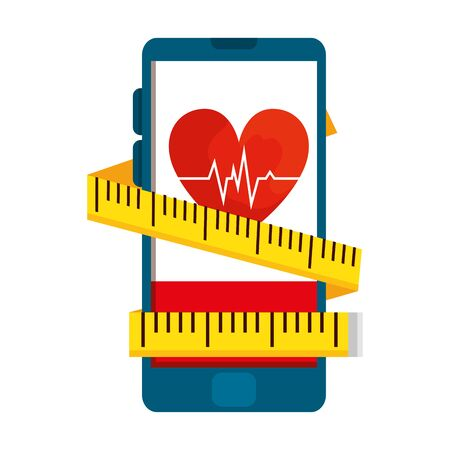 smartphone with heart cardio and tape measure vector illustration design Ilustrace