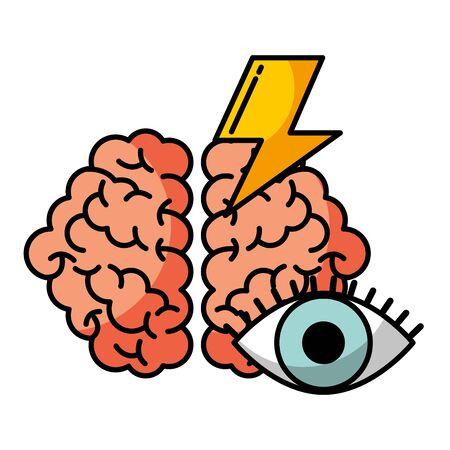 cerveau, vision, puissance, créativité, idée, vecteur, illustration Vecteurs