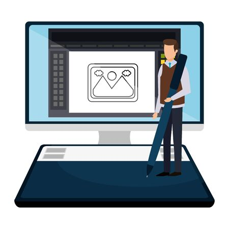 elegant businessman with pen in desktop vector illustration design